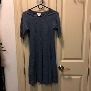 """Anthropologie """"Ganni"""" brand jersey blue dress."""